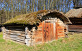 Wooden shed in village traditional ukrainian open air museum pirogovo ukraine Stock Image