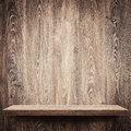 Wooden shelf empty on wall Royalty Free Stock Image