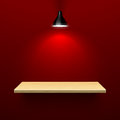 Wooden shelf illuminated by lamp illustration Royalty Free Stock Photography