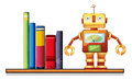 A wooden shelf with a robot and books illustration of on white background Royalty Free Stock Image