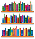 Wooden shelves with books illustration of the on a white background Royalty Free Stock Photography