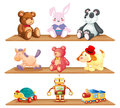 Wooden shelves with different toys illustration of the on a white background Royalty Free Stock Photography