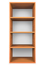Wooden shelves with empty racks isolated on white background Royalty Free Stock Image