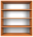 Wooden shelves with empty racks isolated on white background Royalty Free Stock Images