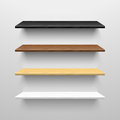 Wooden shelves four wall illustration Royalty Free Stock Images