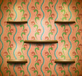 Wooden shelves in retro room Stock Images