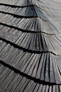 Wooden shingle roof covering the new belfry moravian beskydy mountains czech republic Royalty Free Stock Images