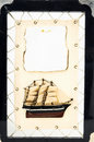 Wooden ship figurine beautiful vintage old pirate sail boat Royalty Free Stock Photography
