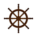 Wooden ship helm in flat style. For yacht clubs, sailboat