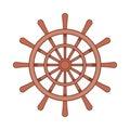 Wooden ship wheel icon, cartoon style