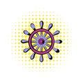 Wooden ship wheel icon, comics style