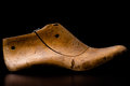 Wooden shoe last shoemaker for manufacturing Royalty Free Stock Images