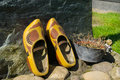 Wooden shoes on Dutch grave Royalty Free Stock Photo