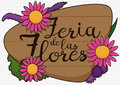 Wooden Sign with Beautiful Flowers for Flowers Festival, Vector Illustration