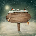 Wooden sign and birds in snow Stock Image
