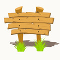 Wooden sign boards on a grass vector illustration Royalty Free Stock Images