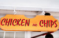 Wooden sign .chicken and chips Royalty Free Stock Photo