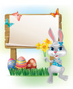 Wooden sign with Easter Bunny Royalty Free Stock Images