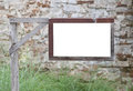 Wooden sign empty post garden Stock Photography