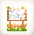 Wooden sign in grass illustration on white background Royalty Free Stock Photo