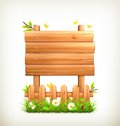 Wooden sign in grass illustration on white background Royalty Free Stock Image