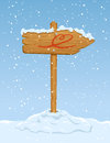 Wooden sign with heart horse on snowy background illustration Stock Photo