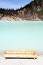 Wooden sign and lake kawah putih near bandund indonesia Stock Images