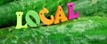 Wooden Sign Local On Fresh Home Grown Cucumbers Royalty Free Stock Photo