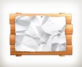 Wooden sign and paper illustration on white background Royalty Free Stock Image