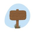 Wooden sign in snow - vector illustration Royalty Free Stock Photo