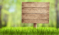 Wooden sign in summer forest park or garden signboard Stock Photo
