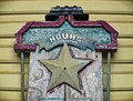 Wooden Sign with Texas Star & Railroad Tanker Car Royalty Free Stock Photo