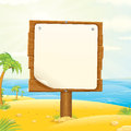 Wooden Sign on the Tropic Beach Stock Photos