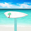 Wooden signboard on the beach white Stock Images