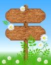 Empty wooden sign post in flower meadow