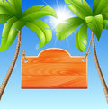 Wooden signboard on a palm vector illustration of a summer holiday in the tropics Stock Photos