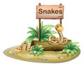 A wooden signboard with snakes illustration of on white background Royalty Free Stock Images