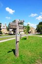 Wooden signpost broadway on the village green along the high street giving directions to various walks cotswolds worcestershire Royalty Free Stock Image