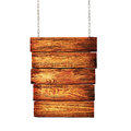 Wooden signpost hanging on chains Royalty Free Stock Photo