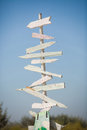 Wooden signpost an old with blank arrows for you to add your own text Royalty Free Stock Image