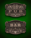 Wooden signs for pub and bar vintage Stock Images