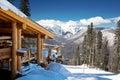 Wooden ski chalet snow mountain view Stock Images