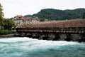 Wooden sluice bridge in thun switzerland Royalty Free Stock Image