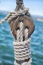Wooden block on sailboat Royalty Free Stock Photo