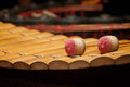 Wooden soprano xylophone the thai music instrument select focus at drumstick Royalty Free Stock Image