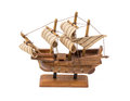 Wooden souvenir sailboat on a stand Royalty Free Stock Photo