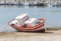 Wooden spanish fishing boat in conil port cadiz province andalusia spain Royalty Free Stock Photo