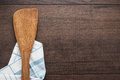 Wooden spatula on the brown table background Stock Photography