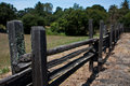 Wooden split-rail fence in country Royalty Free Stock Photo