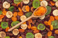 Wooden spoon with apricot Royalty Free Stock Photo